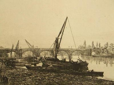 Lawrence Barnett Phillips etching; Thames, London pencil signed, 1800's