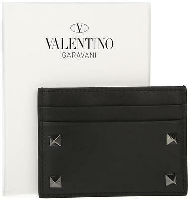 New Valentino Garavani Rockstud Black Leather Credit Card Case Id Wallet Holder
