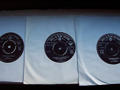 3 X Jim Reeves Singles, I Love You Because / Distant Drums / There's A Heartache