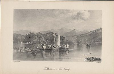 WINDERMERE - THE FERRY - BEAUTIFUL ORIGINAL 19th CENTURY ANTIQUE ENGRAVING 1800s