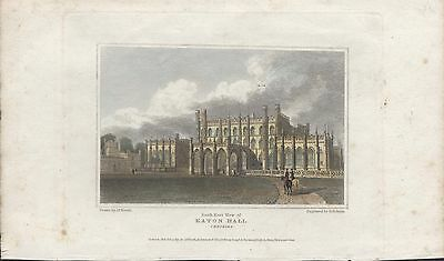 EATON HALL, CHESHIRE - ORIGINAL 19th CENTURY HAND COLOURED ENGRAVING c.1819