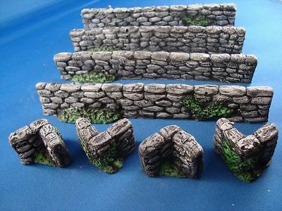 K6 10X STONE WALLS + corners 28mm for warhammer, OO gauge and N gauge Trainsets