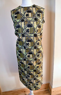 Excellent VINTAGE Abstract Print 1950s Silky Feel Sheath Shift Dress