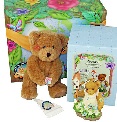 Cherished Teddies 2010 Membearship Kit Geraldine Figurine Heather Plush & Pin