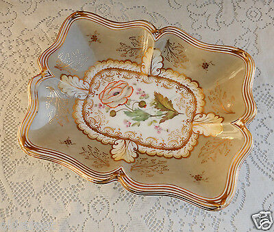 Davenport Staffordshire 19c Hand Painted English Porcelain Footed Bowl Dish Gold