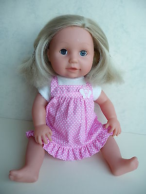 """TINY TEARS 16"""" DOLL original outfit DRINKS WETS 2002"""