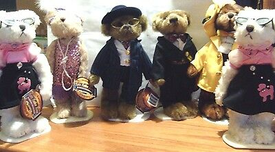 "Brass Button Bears 11""  Large Lot Of 6"