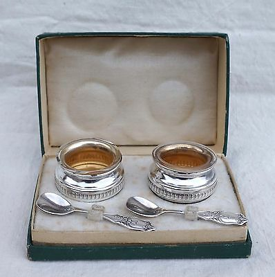 Vintage French Silverplate Pair of Salt Pepper Cellars with Spoons Box