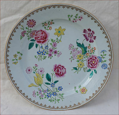 Antique Chinese Export Qianlong Porcelain Flowers Dish Qing 18th C