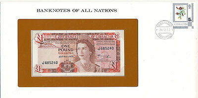 Franklin Mint Banknotes of all Nations Gibraltar £1 P-20a