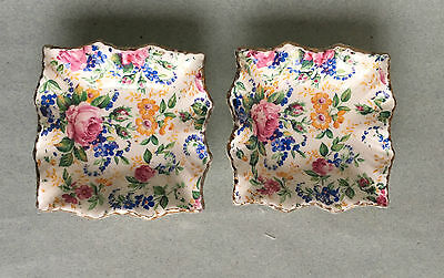 VINTAGE 2 x JAMES KENT CHINTZ PIN DISHES PAIR pretty floral roses