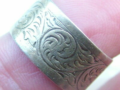 Silver Old Patterned Band Ring