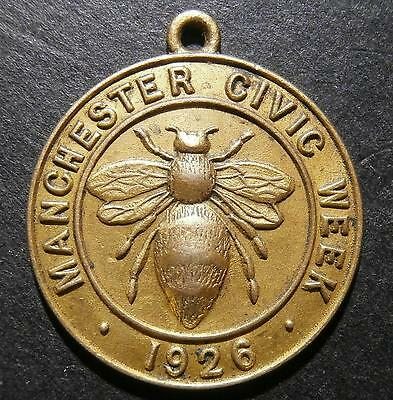 UK medallion - Manchester civic week 1926 - bee obverse / pressed reverse 23.3mm