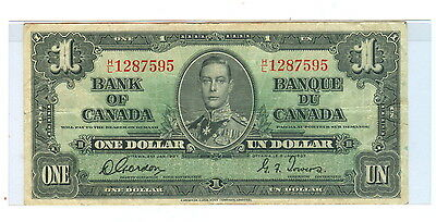 1937 One Dollar Bank Of Canada, Ottawa Note - Cir