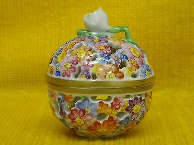 Fine HEREND MINIATURE Spherical Reticulated Floral BOX & Cover #6219