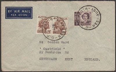 Australia 1951 KGVI 8½d x2, 1d Used on Airmail Cover Perth to UK