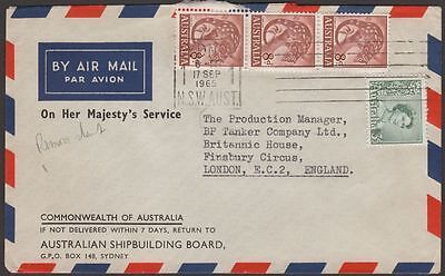 Australia 1965 QEII 8d x3, 3d Used on Airmail Cover Sydney to UK