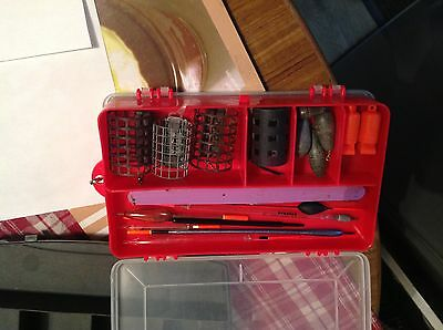 fishing tackle box and hooks floats line etc