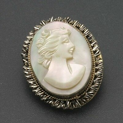 """Vintage 800 Silver Carved Mother of Pearl Cameo Pin Pendant 1"""" x 3/4"""""""