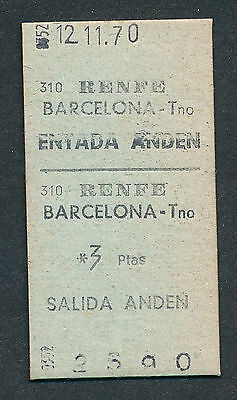 QY3187d SPAIN Barcelona Tno  platform ticket 1970