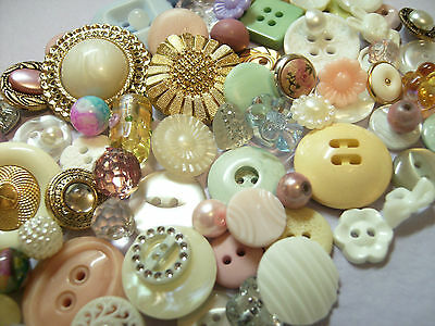 100 Pastel Buttons And Beads, Vintage/new,glass/plastics, Bouquets