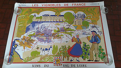 Vintage Advertising Pop Art Travel Map/poster Les Vignobles De France Wine Map