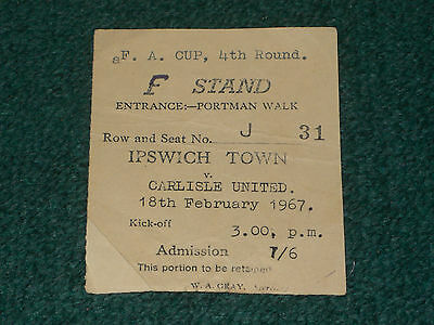 Ticket 1966/67 FA Cup 4th Round - IPSWICH TOWN v. CARLISLE UNITED