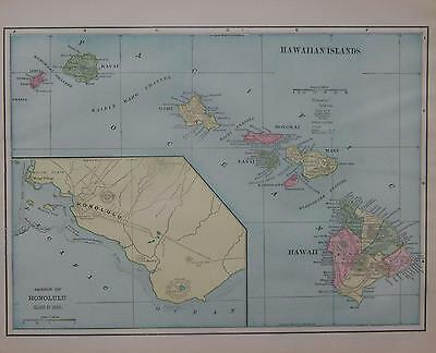 1902 Hawaiian Islands Color Atlas Map**   ... Hawaii .... 115 years-old!