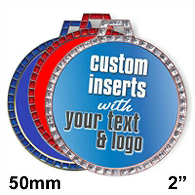 SET OF 100x LOGO PRINTED SPORTS TROPHY MEDAL CENTRES ANY DESIGN & TEXT flat 50mm