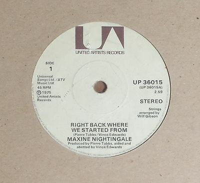 "'Right Back Where We Started From' MAXINE NIGHTINGALE 7"" vinyl single UA UP36015"