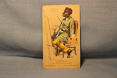 1881 Creme Oat Meal Toilet Soap Monkey Artist Victorian Advertising Trade Card