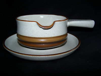 Vintage Denby Potters Wheel Rust Red Design Gravy Boat with Underplate