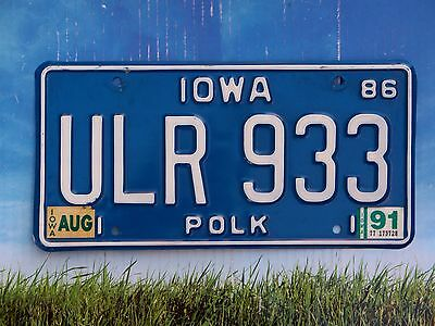 1991 Iowa License Plate ULR 933 Natural 1986 Base Polk County Des Moines Area