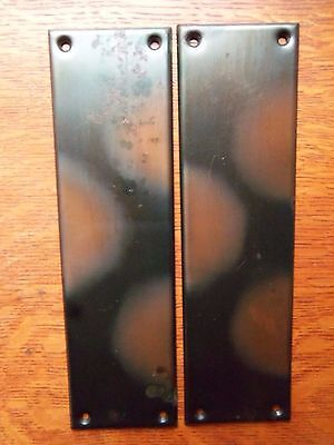 "Two Antique Victorian Copper ""Flashed"" Steel Door Plate Finger Push Plates c1900"