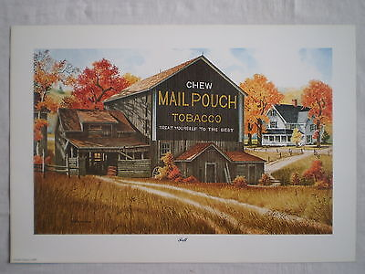 """Mail Pouch Old Country Barn & Farm House """"fall"""" Artist Signed Wall Art Print"""