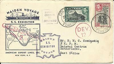 Ceylon 1940, Maiden Voyage S.S. Exhibitor ship cover to NL East Indies. Censor