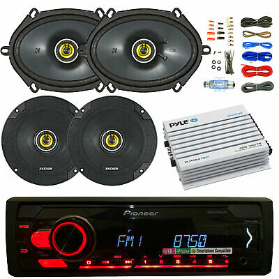 "Pioneer Bluetooth Car CD Stereo, 400W Amp and Kit, Kicker 6x8"" and 6.5"" Speakers"
