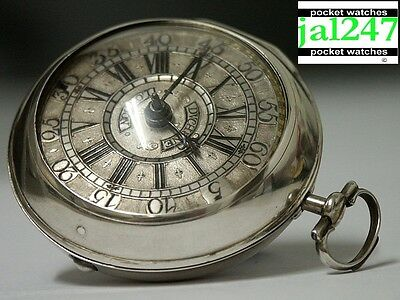 C1720 Duchene London. Silver Pair Cased Verge Fusee Champleve Dial Pocket Watch