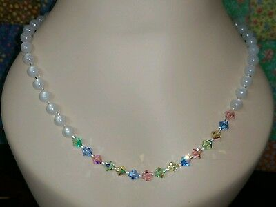 Vintage MONET Pastel crystal and white Bead Necklace, 23 inch