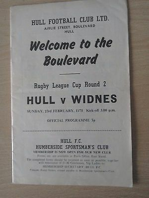 Hull V Widnes 23/2/75 League Cup