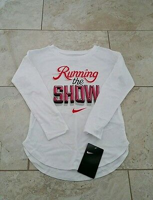 New Nike Kids Girls Graphic Long Sleeve White Cotton T-Shirt Top Tee Size: 6X