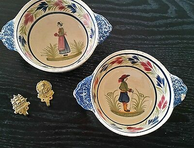Quimper Pottery Bowls with Hooks