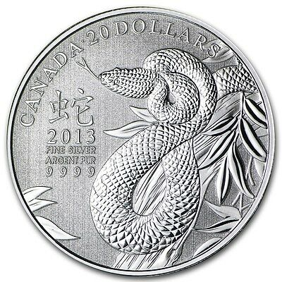 2013 Canada $20 Year of the Snake Silver Coin with COA (RCM)