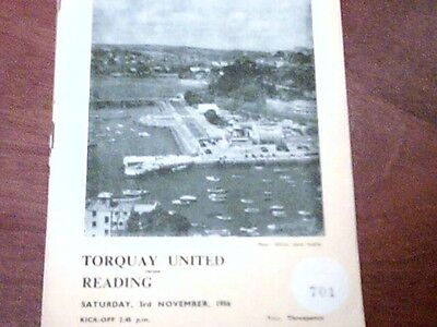 56/57 Torquay United V Reading Division 3 South  3/11/56