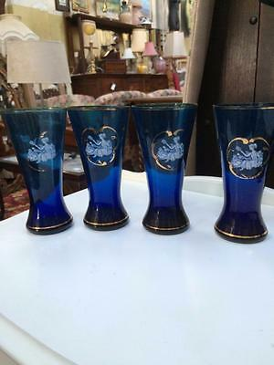 4 X Vintage Retro Large Tall Glasses Blue Glass & Lady Scene With Gold