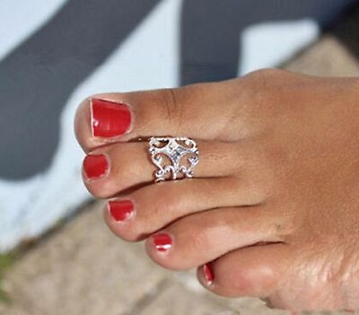 Fancy Toe Finger Ring Adjustable NEW Silver Plated Body Jewelry