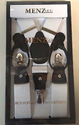 Suspenders white 1 1/2 inch Y back suspenders clip-on formal tux steampunk