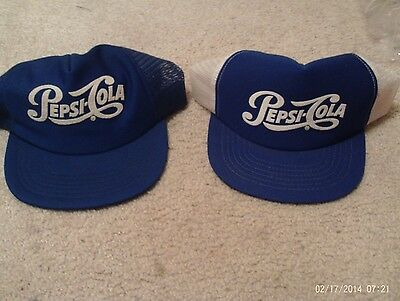 2 Vintage Pepsi Cola Snapback Hat Truckers Made In Usa