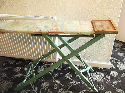 Vintage Wooden Folding Haxyes Ironing Board Adjustable Height In Deco Green