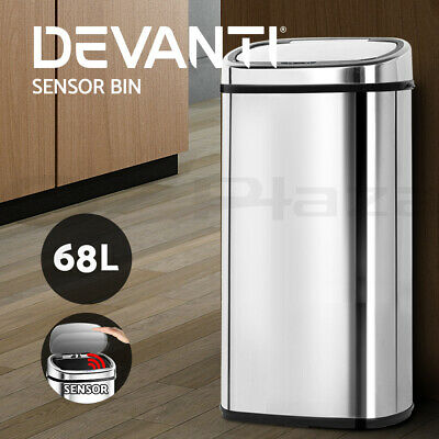 68L Stainless Steel Motion Sensor Bin Rubbish Touch Free Auto Trash Can Kitchen